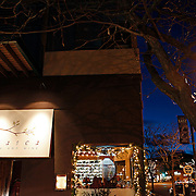SHOT 12/11/10 6:22:02 PM - The front entrance of Frasca Food and Wine in the Boulder, Co. after the sun has set. Frasca is a highly-rated neighborhood restaurant inspired by the cuisine and culture of Friuli, Italy. Historically found throughout Friuli, Frascas were friendly and informal gathering places, a destination for farmers, friends, and families to share a meal and a bottle of wine. Identified by a tree branch hanging over a doorway portal, they were a symbol of local farm cuisine, wine, and warm hospitality. (Photo by Marc Piscotty / © 2010)