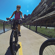 SHOT 5/9/16 11:17:13 AM - GoPro footage and stills of the Mag 7 trail, Fisher Towers and the bike trail along Highway 128 in Moab. Moab is a city in Grand County, in eastern Utah, in the western United States. Moab attracts a large number of tourists every year, mostly visitors to the nearby Arches and Canyonlands National Parks. The town is a popular base for mountain bikers and motorized offload enthusiasts who ride the extensive network of trails in the area. (Photo by Marc Piscotty / © 2016)