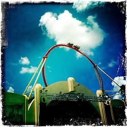 The Hollywood Rip Ride Rockit ride at Universal Studios at their Orlando Resort. Orlando holiday 2012. Photo taken with the Hipstamatic photo application on Apple iPhone 4.