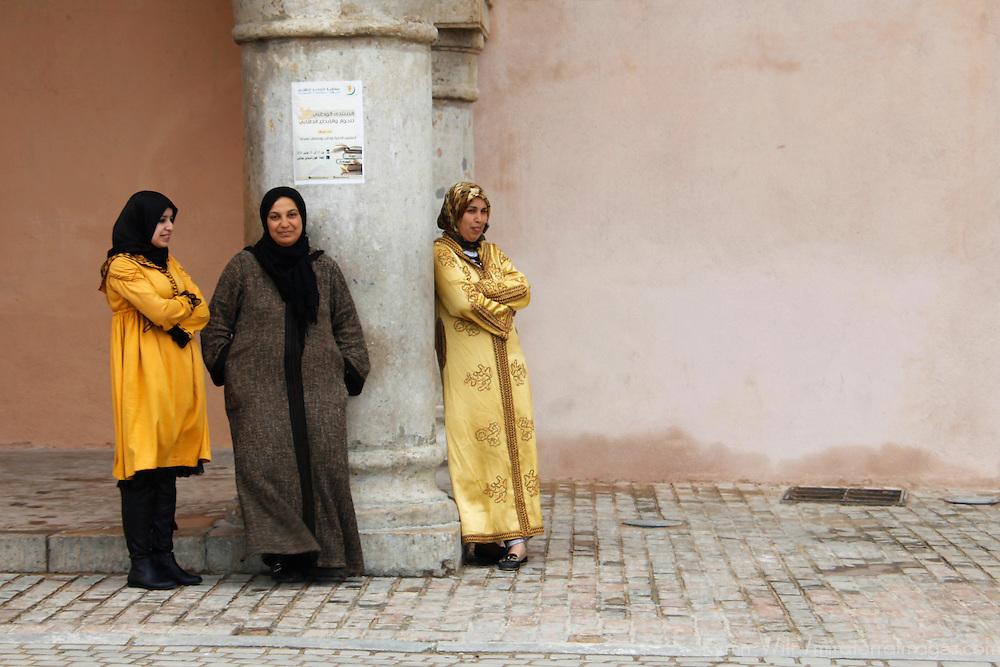 Africa, Morocco, Meknes. Moroccan women of Meknes.
