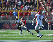 Ole Miss' Nickolas Brassell(2) catches a pass vs. Arkansas at Vaught-Hemingway Stadium in Oxford, Miss. on Saturday, October 22, 2011. Arkansas won 29-24..