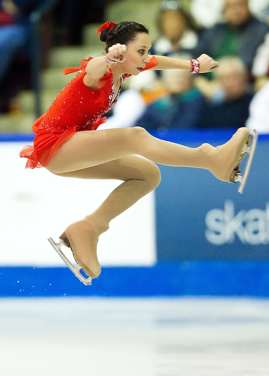 GJR386 -20111029- Mississauga, Ontario,Canada-  Elizaveta Tuktamisheva of Russia skates to victory in the free skate at Skate Canada International, in Mississauga, Ontario, October 29, 2011.<br /> AFP PHOTO/Geoff Robins