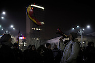 A protester shouts slogan trough a bull horn as hundreds gathered every evening in front of the government headquarters at the Victory square are now demanding resignation of PM Sorin Grindeanu. 17 February 2017.