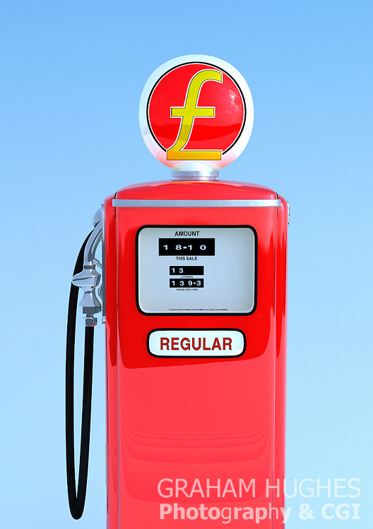 Red 1950's style petrol pump with pound symbol.