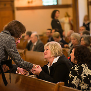 Family members of Thomas Foley greet each other at a memorial service for the former U.S. Speaker of the House at St. Aloysious Church in Spokane, Wash. Friday November 1, 2013.  (Photo courtesyof Gonzaga University)