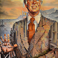 Jimmy Carter Portrait by Octavio Ocampo at President Carter Library in Atlanta, Georgia<br /> Look closely at this portrait of Jimmy Carter by Octavio Ocampo. Small, ornate images such as buildings, trucks and flags come together in a &ldquo;metaphoric style&rdquo; to create the president. The artwork was a gift from President Portillo of Mexico in 1979. It now hangs in the President Carter Library and Museum in Atlanta, Georgia.