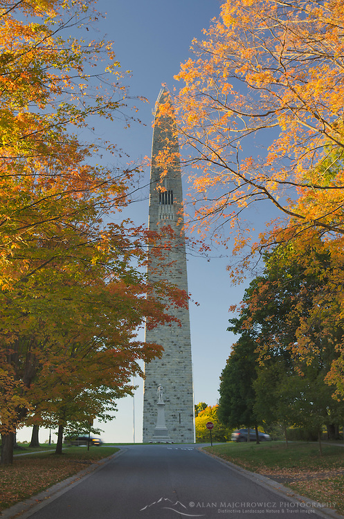Bennington Battle Monument framed in golden fall foliage, Bennington, Vermont