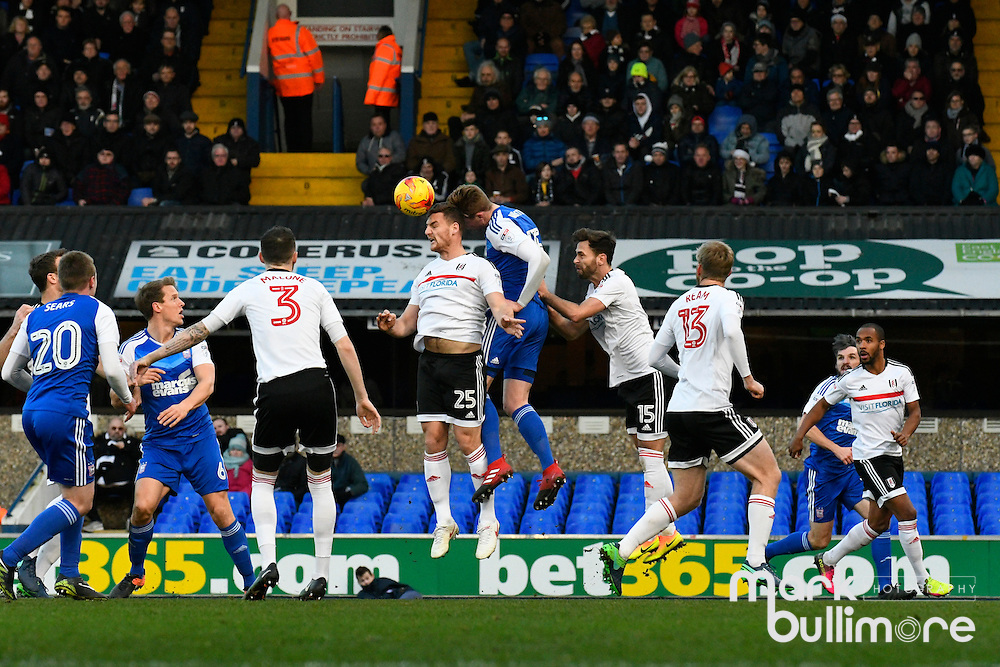 Ipswich, Suffolk. Football action from Ipswich Town v Fulham at Portman Road in the Sky Bet Championship on the 26th December 2016. <br /> <br /> Picture: MARK BULLIMORE