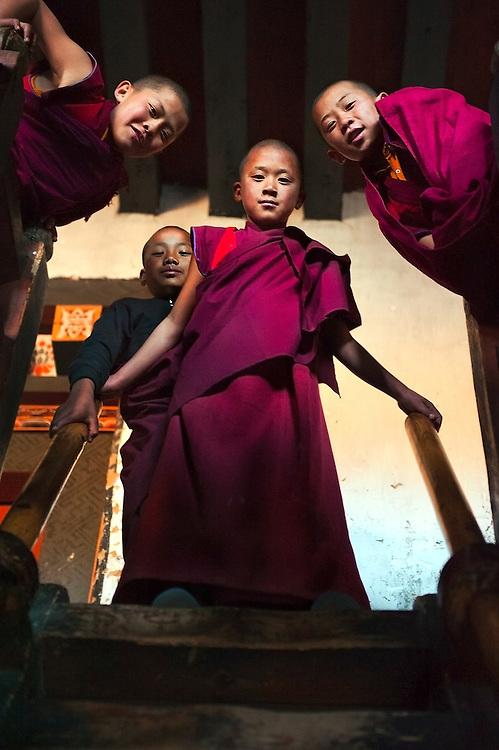 Novice monks in Bumthang Bhutan.