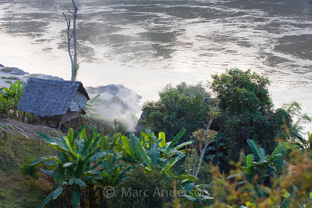 Bamboo hut next to the Salawin River, Mae Sam Laep, Mae Hong Son Province, Thailand