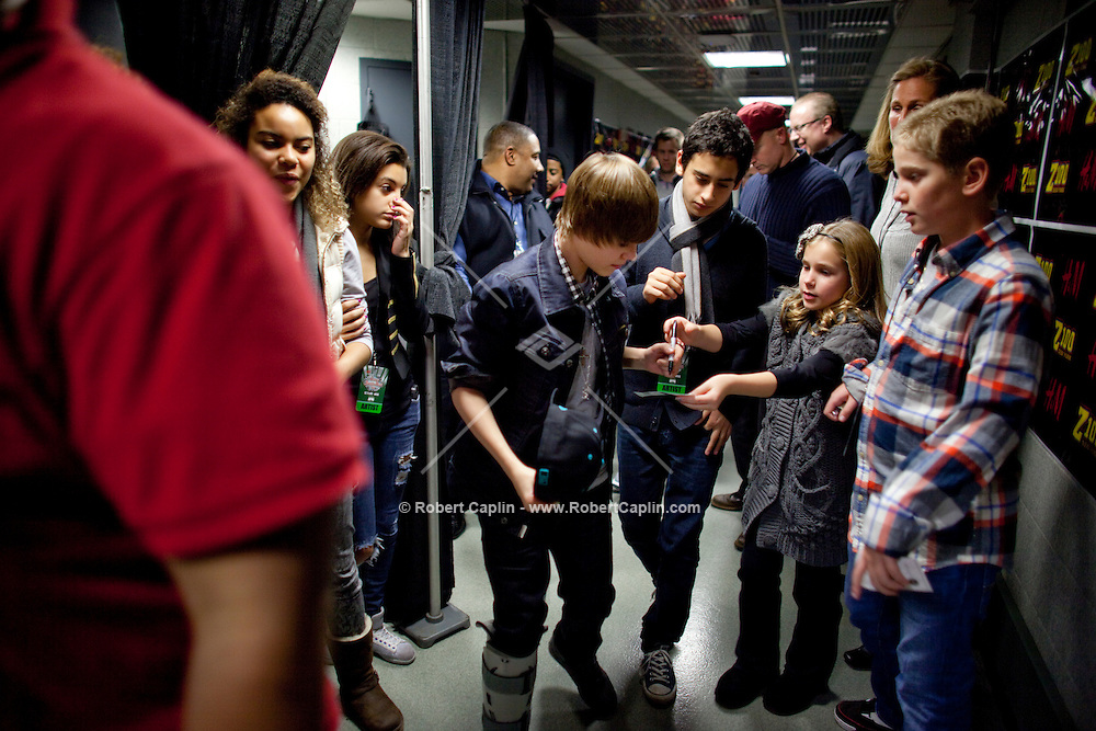 Justin Bieber backstage prior to performing at the 2009 Z100's Jingle Ball at Madison Square Garden in New York. ..(Photo by Robert Caplin)....