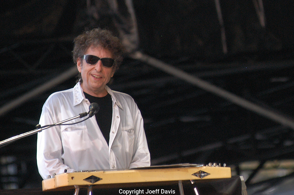 "Manchester, TN-June 11, 2004: Bob Dylan performs on the ""What Stage"" at the 2004 Bonnaroo festival."
