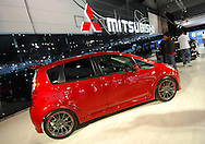 """Mitsubishi Colt Ralliart.Melbourne International Motorshow, .Melbourne Exhibition Centre. Clarendon St, Southbank, Melbourne .14th February 2006.Mitsubishi Colt Ralliart which has been further enhanced by the works rally team with a range of specially designed """"Ralliart"""" performance parts..It is powered by a 1.5 litre MIVEC turbo-charged engine and features special air filter, sports muffler, lowered sports suspension, and intercooler pipe kit, a sports earthing kit, and 17"""" alloy wheels fitted with performance tyres are the basis of the performance enhancement. Cosmetic parts that add to the appeal of the car include gear lever shift knob, titanium pedal kit, engine hood fin panel and rear spoiler..The standard Colt Ralliart could easily establish a cult following for itself, as its standard equipment includes an aggressively designed full body kit, low profile 16"""" performance tyres fitted to alloy rims (up 1"""" from the standard Colt), Recaro sports seats, alloy pedals, as well as other desirable comfort and performance features..(C) Joel Strickland Photographics.Use information: This image is intended for Editorial use only (e.g. news or commentary, print or electronic). Any commercial or promotional use requires additional clearance."""