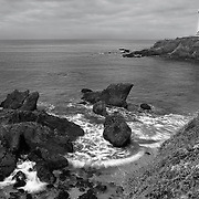 Pigeon Point Lighthouse And Shoreline - Black & White