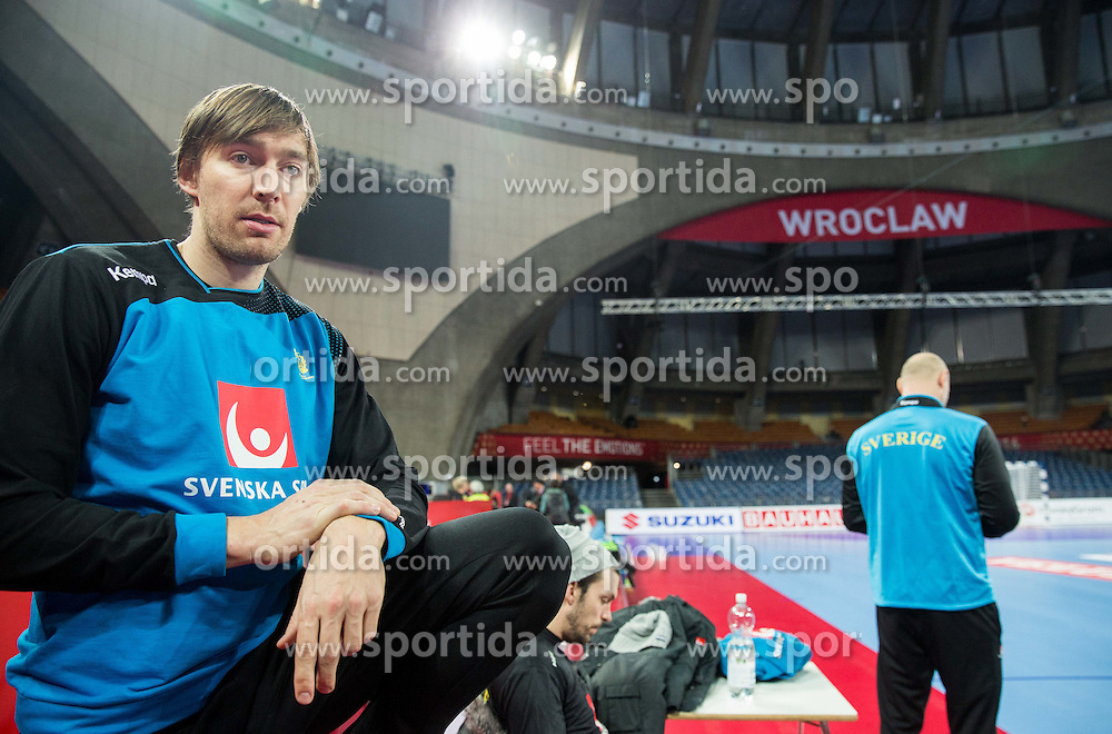Jonas Kalmann during practice session of Team Sweden on Day 1 of Men's EHF EURO 2016, on January 15, 2016 in Centennial Hall, Wroclaw, Poland. Photo by Vid Ponikvar / Sportida