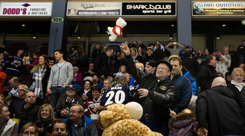 VICTORIA B.C. - DECEMBER 12:  The Victoria Royals and Vancouver Giants of the Western Hockey League square off at the Save-On-Foods Memorial Centre during Teddy Bear Toss night on December 12, 2014 in Victoria, British Columbia, Canada. The Giants would go on to beat the Royals 6-3. (Photo by Kevin Light/Victoria Royals)
