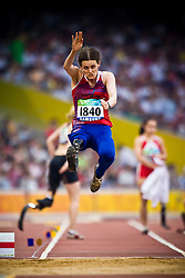 """Elin Holen of Norway competes in the women's F42 Long Jump during the Beijing 2008 Paralympic Games; National """"Bird's Nest"""" Stadium, Beijing Olympic Green, China, 8th September 2008;"""