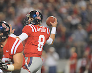 Ole Miss' Zack Stoudt (8) vs. LSU at Vaught-Hemingway Stadium in Oxford, Miss. on Saturday, November 19, 2011. LSU won 52-3..