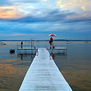 Life guard on duty at the Lake Mendota swimming area  off of the Memorial Union on the University of Wisconsin campus.