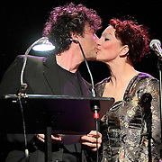 """Neil Gaiman and Amanda Palmer perform on November 9th, 2011 during the """"An Evening with Neil Gaiman & Amanda Palmer""""  at the Moore Theatre."""