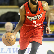 Raptors 905 Guard SCOTT SUGGS (5) dribbles the ball up court in the first half of a NBA D-league regular season basketball game between the Delaware 87ers and the Raptors 905 Friday, Jan. 15, 2016. at The Bob Carpenter Sports Convocation Center in Newark, DEL.