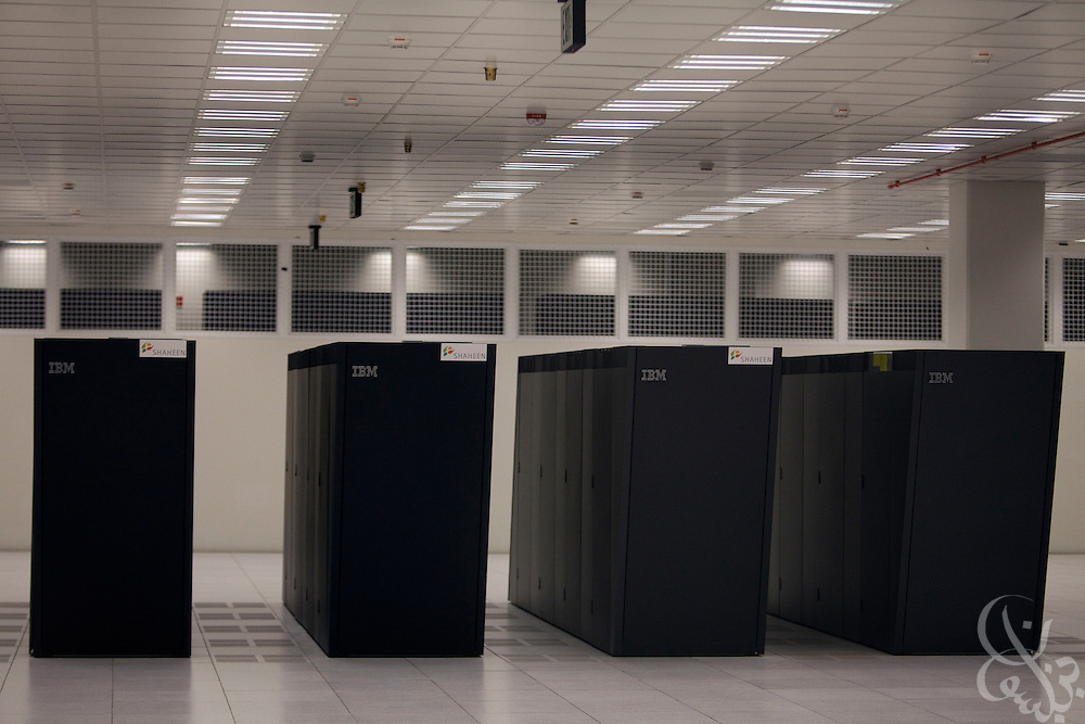 The recently installed Shaheen supercomputer is seen on the King Abdullah University of Science and Technology (KAUST)  campus September 21, 2009 (about 80 kilometers north of Jeddah.) Derived from the Arabic word for peregrine falcon -- Shaheen is the fastest supercomputer in the Middle East and one of the most powerful in the world. Developed with IBM, it is capable of 222 teraflops, or in lay terms,can work 222 trillion complicated calculations per second. (Handout photo by Scott Nelson)