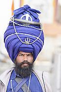Temple guard at Sikh Temple,Old Delhi,Delhi,National Capital Territory,India,