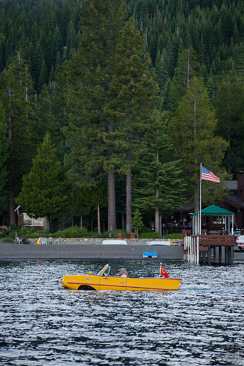 """""""Amphicar on Lake Tahoe"""" - This 1960's German amphibious car, the Amphicar, was photographed """"driving"""" on Lake Tahoe, CA."""