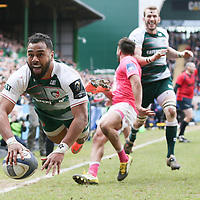 Leicester Tigers Telusa Veainu scores the 6th try during the European Rugby Champions Cup match between Leicester Tigers and Stade  Francais played at Welford Road, Leicester on April 10th 2016