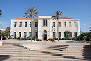 Israel, Tel Aviv, Neve Tzedek, Suzanne Dellal cultural center entrance to main building with 2 palm trees