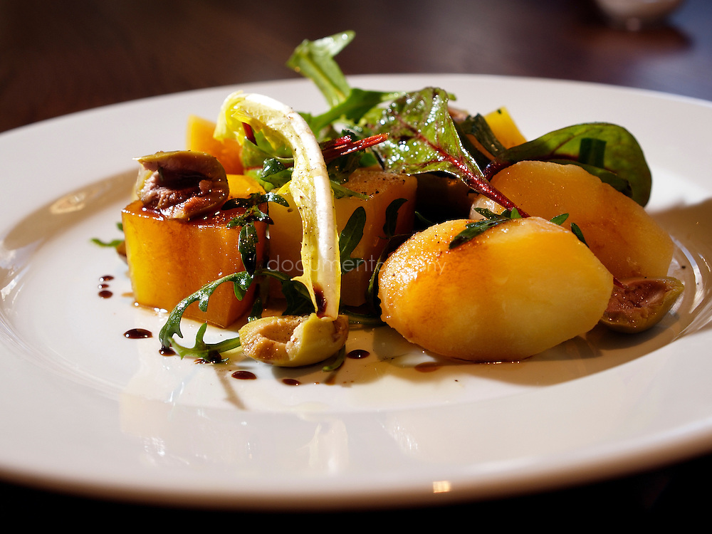 Yellow beetroot, potatoes and rocket salad. Acorn House, 69 Swinton Street, London, WC1.