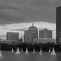 This selective color B&amp;W Boston Charles River skyline photography image is available as museum quality photography prints, canvas prints, acrylic prints or metal prints. Prints may be framed and matted to the individual liking and decorating needs: <br />