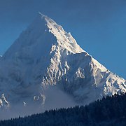 Fresh snow covers Mount Garibaldi, a 2678 meter (8786 foot) mountain located near Squamish, British Columbia, Canada.