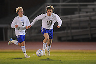 Oxford High's Edward Terry (10) and Oxford High's Noland Parham (3)vs. Lafayette High in boys high school soccer action at Bobby Holcomb Field in Oxford, Miss. on Monday, December 10, 2012. Oxford won 8-0.
