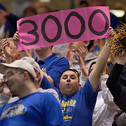 A Delaware fan holds up a pink sign that reads 3000 points in honor of Delaware Forward Elena Delle Donne (11) who scored over 3000 points in her career in the second half of a 2013 Round Two Women's NCAA tournament game against No. 3 North Carolina Tuesday, March 26, 2013, at the Bob Carpenter Center in Newark Delaware.