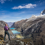 Nevado Huandoy (20,866 feet or 6360 meters elevation) rises high above Llanganuco Valley and Lakes, in Huascaran National Park (UNESCO World Heritage Site), Cordillera Blanca, Andes Mountains, Peru, South America