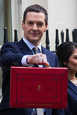 2015-03-18 Chancellor George Osbourne leaves 11 Downing Street to present pre-election budget