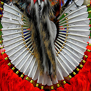 Close up traditional bustle regalia at the Thunderbird Powwow at the Queens County Farm Museum.<br />
