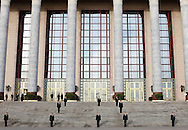 Chinese soldiers stand guard during the second plenary session of the National People's Congress in Beijing's Great Hall of the People, China, Monday, March 9, 2009.The Great Hall of the people's with it's impressive Stalinist building style and attention to protocol remains as one of the the country's last showcases  of old style communism on a grand scale.