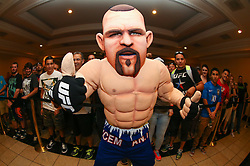 Las Vegas, Nevada, USA - July 4, 2014: A Chuck Liddell mascot poses with fans before the UFC 175 weigh-in's at the Mandalay Bay Events Center in Las Vegas, Nevada.  Ed Mulholland for ESPN