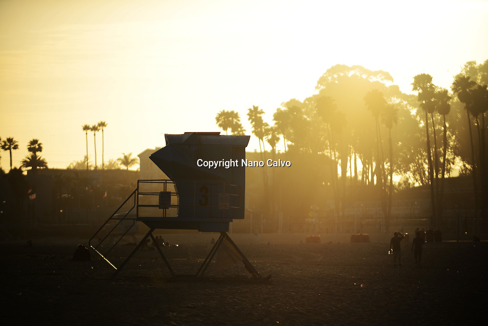 Santa Cruz main beach at sunset, California.