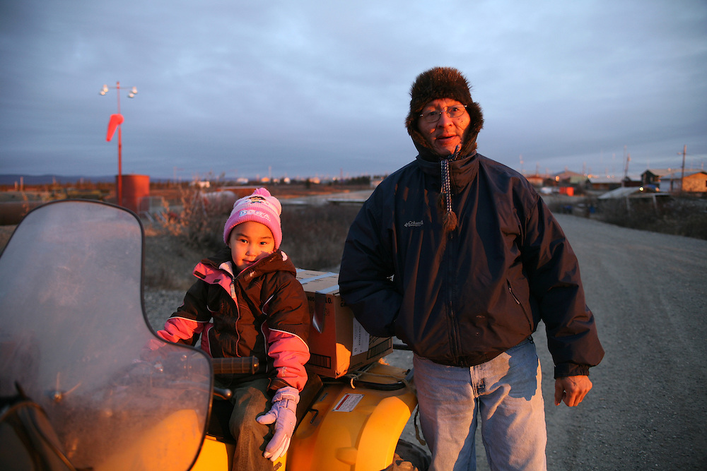 John and his doughter Sharon Barger at the airport in Noatak, Alaska.