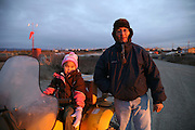 John and his doughter Sharon Barger at the airport in Noatak, Alaska.