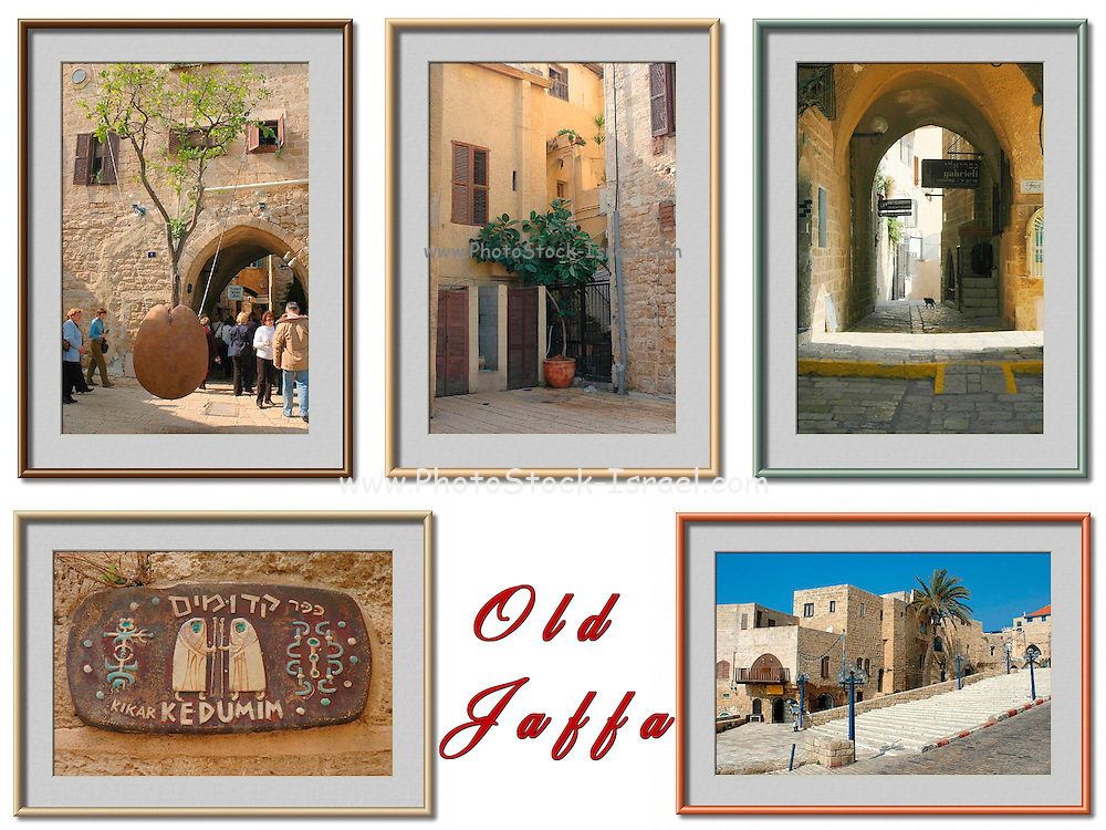 5 image collage of Jaffa, Israel, Colour manipulated