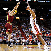 24 January 2012: Cleveland Cavaliers shooting guard Anthony Parker (18) takes a jumpshot over Miami Heat small forward Shane Battier (31) during the Miami Heat 92-85 victory over the Cleveland Cavaliers at the AmericanAirlines Arena, Miami, Florida, USA.