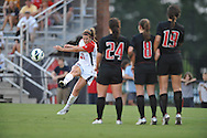 Ole Miss' Mandy McCalla (21) scores on a free kick vs. Texas Tech at the Ole Miss Soccer Stadium in Oxford, Miss. on Sunday, September 2, 2012. Ole Miss won 2-0 to improve to 6-0. Texas Tech falls to 5-1.