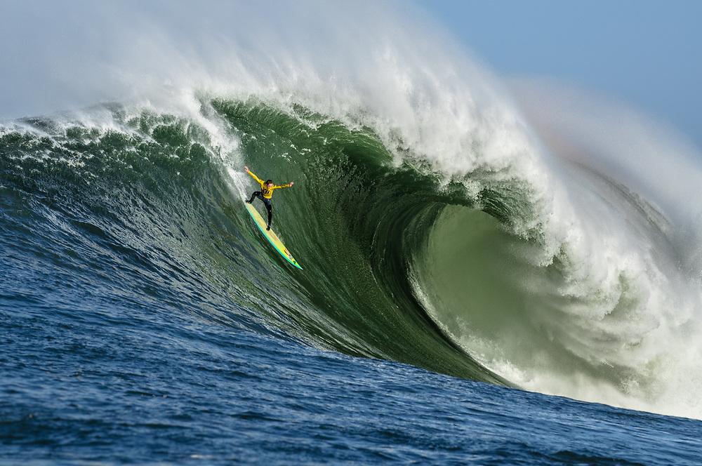 Zach Wormhoudt surfing Mavericks. Half Moon Bay, CA