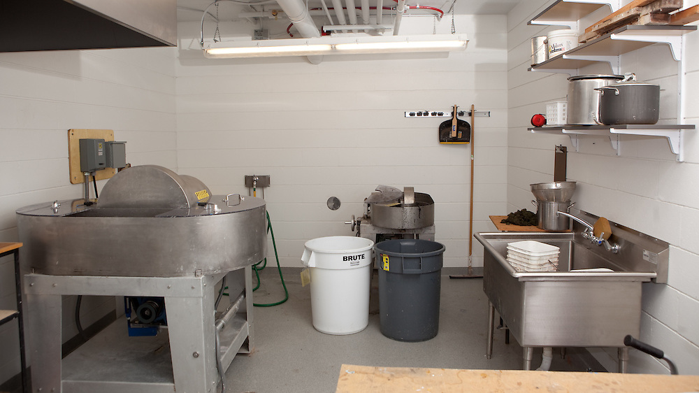 This is a view of the paper lab at the University of Wisconsin-Madison. The beater room has three beaters. In this photo you can see a 7 pound beater on the left and a two pound beater in the far right.