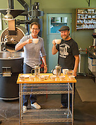 Kyle MacLachlan selecting his blend for Pursued by Bear coffee with team at Walla Walla Roastery, Washington