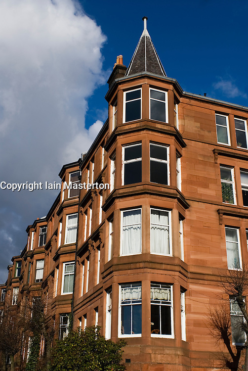 Traditional red sandstone tenement apartment houses in west end of Glasgow Scotland